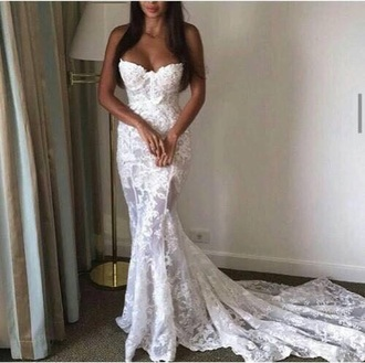 dress white wedding dress lace wedding dress lace dress white dress sexy dress white prom dress lace slim fit dress bridal gown bride dresses white dresses for brides white lace prom dress