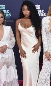 dress,Fifth Harmony,silk,satin,90s style,white,white dress,silk dress,maxi dress,celebrities in white,minimalist dress