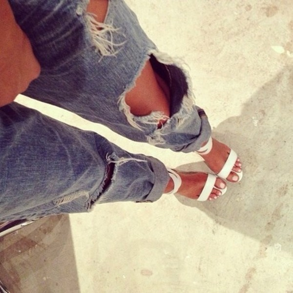 shoes jeans distressed blue jeans