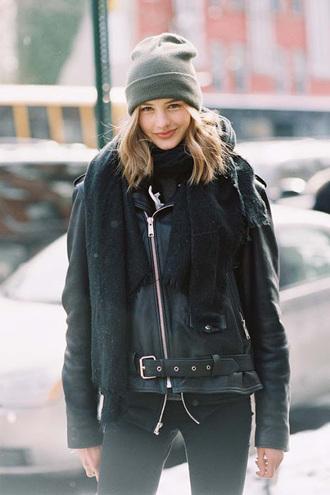 vanessa jackman blogger shearling jacket black jacket grey beanie leather jacket