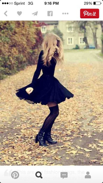 dress little black dress long sleeve dress