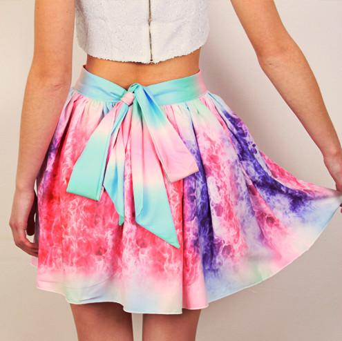 Pastel coloured pleated skater skirt – sirenlondon