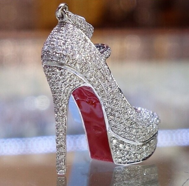 Shoes: girly, red, red high heels, high heels, heels, glitter ...