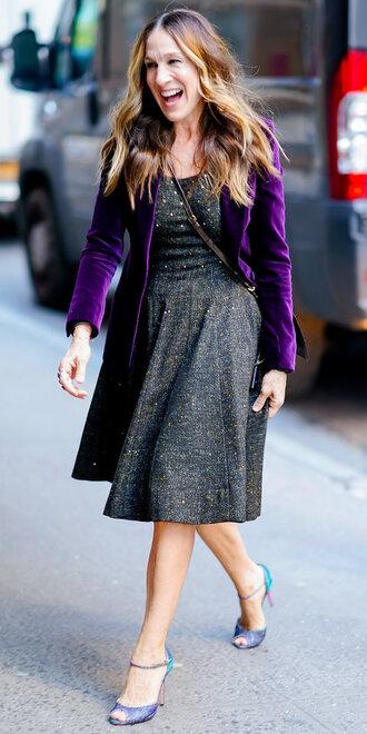 dress jacket sarah jessica parker sandals fall outfits midi dress blazer velvet