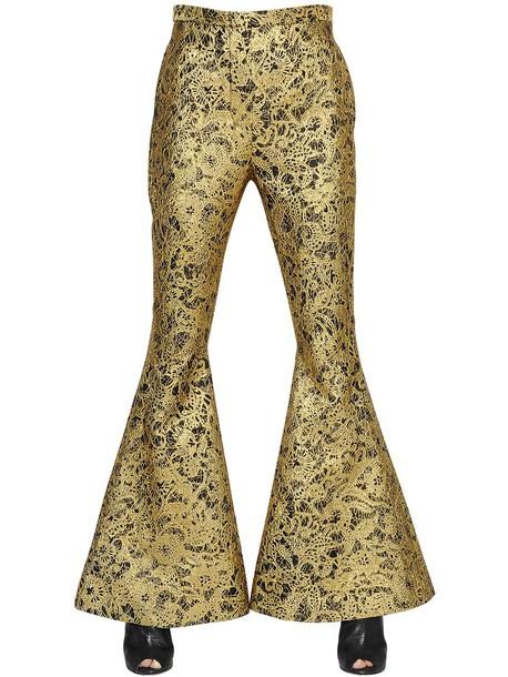 ELLERY Flared Lurex Lace Brocade Pants in black / gold