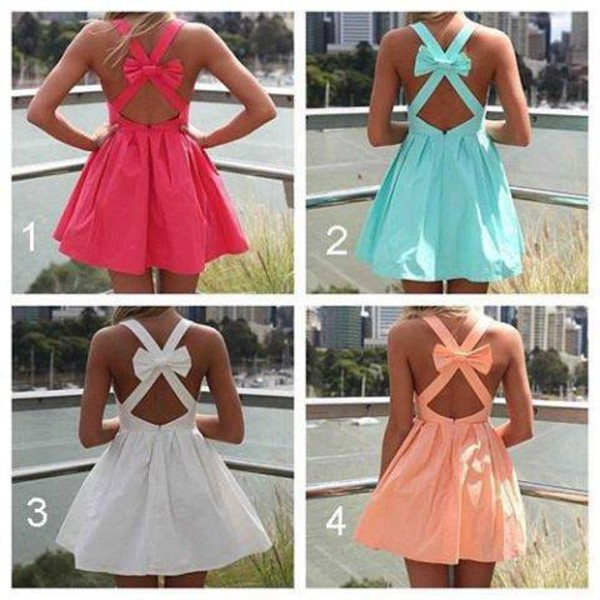 skirt h&m dress pink dress colorful orange now cross cute ribbon short dress cute dress white dress pink short bow dress pink blue bow summer spring orange dress backless dress bows turquoise summer dress summer outfits cross back bow dress belt