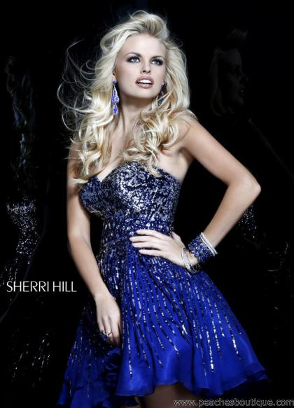 Sherri Hill Short Dress 8524 at Peaches Boutique