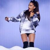sweater,ariana grande,honeymoon tour,jacket,pretty,cute,oversized sweater,hoodie,tie dye,printed sweater,dope,white,blue