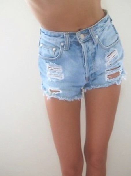 Light Blue High Waisted Shorts - The Else