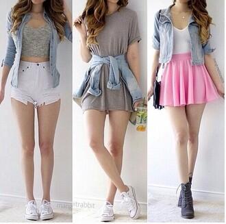 skirt dress shirt pink skirt blue jean jacket