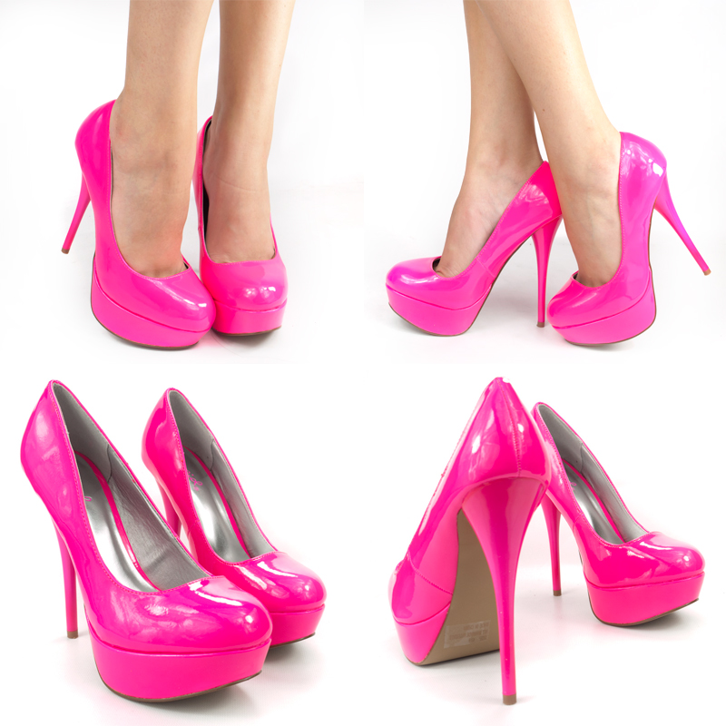 66cb1273fedc Neon Hot Pink Round Toe Patent Leather High Heel Platform Stiletto ...