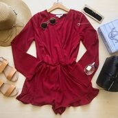 romper,red,jumpsuit,valentines day,valentines,brugundy,wine,burgundy,spring,summer,spring break,spring 17,spring 2017,summer 17,summer 2017,trendy,fashion,bellexo