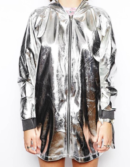 windbreaker hood grunge metallic anorak long sleeves sleeve shiny space nylon plastic indie ragged priest raincoat