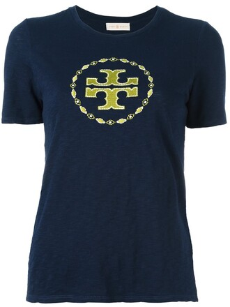 t-shirt shirt embroidered blue top