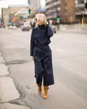 pants,blue top,tumblr,blue pants,cropped pants,stripes,striped pants,boots,suede,suede boots,fall outfits