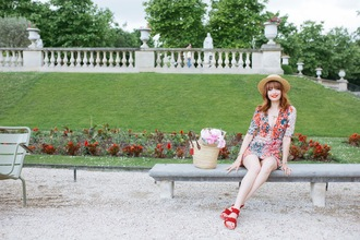 miss pandora blogger dress jewels shoes red shoes sandals summer dress basket bag