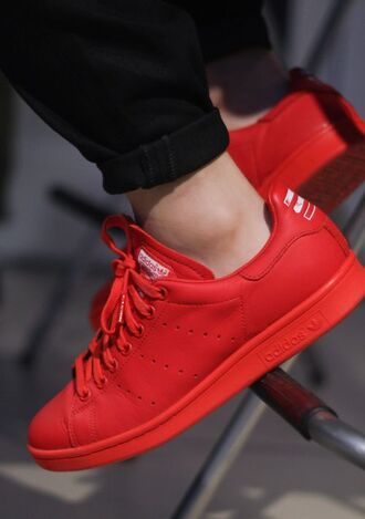 shoes adidas red stan smith red sneakers