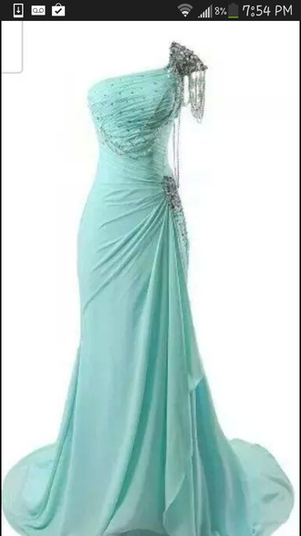 blue prom dresses chain one shoulder