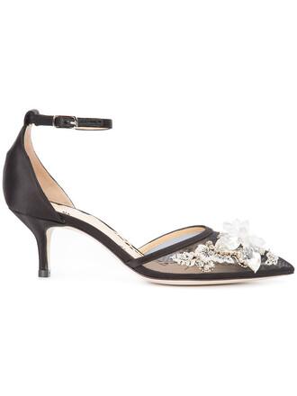 women plastic pumps leather black silk satin shoes