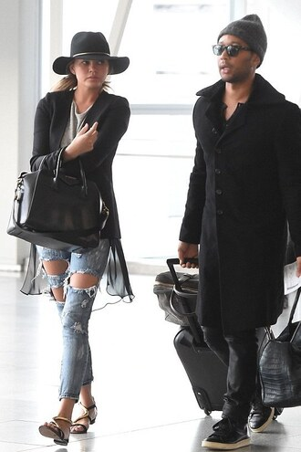 chrissy teigen hat givenchy sandals ripped jeans