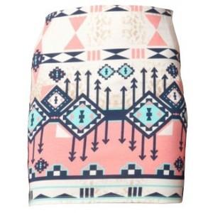 Bershka (zara) aztec print body con skirt