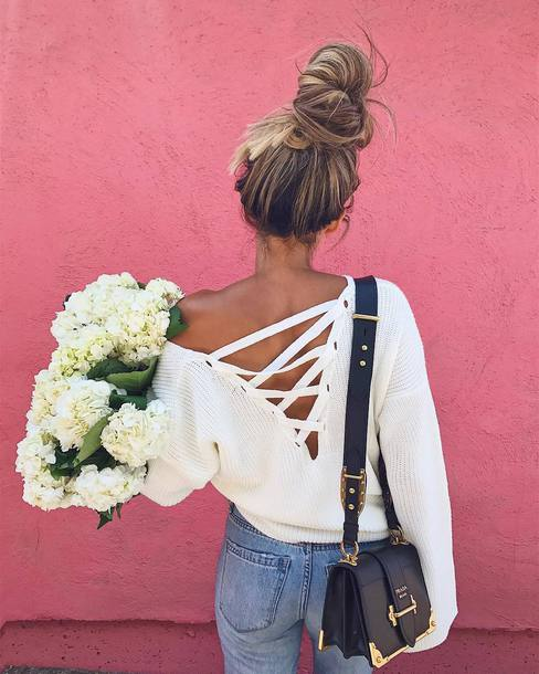 ... clearance sweater tumblr white sweater lace up open back backless  backless top flowers bag prada prada 5a081a1fb88ae