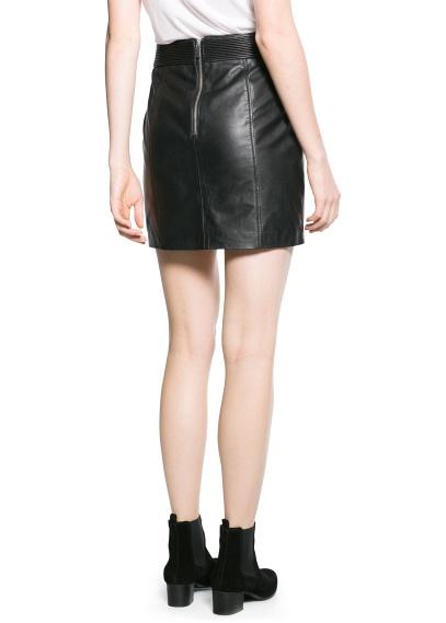 MANGO - CLOTHING - Skirts - Leather miniskirt