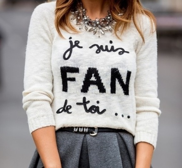 sweater pull white french knit sweater