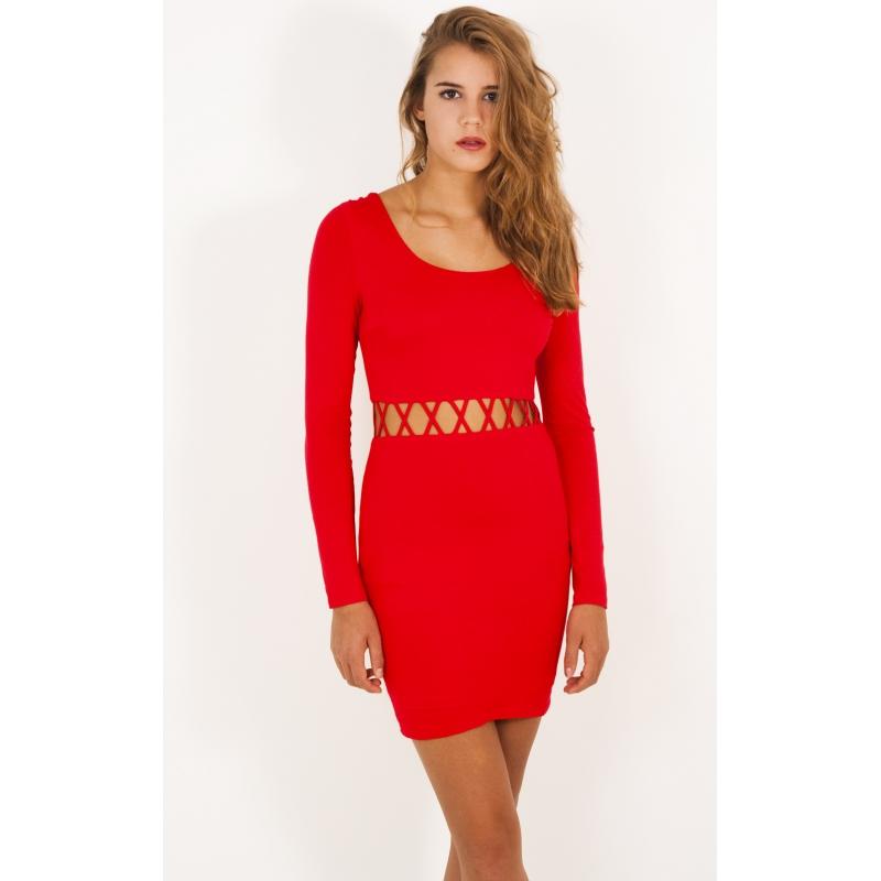 A&CO Red Haute X Cut Out Dress  |          RunwayRoute.com Online Boutique
