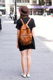bag,backpack,leather,brown,girl,street,dress,black,hat,fashion,grunge,little black dress,brown backpack,leather backpack,hipster