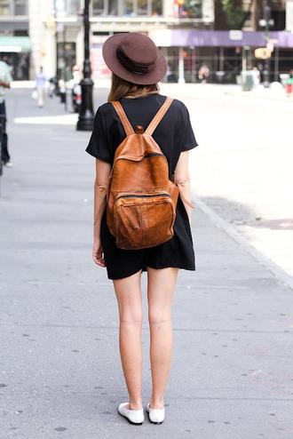 bag backpack leather brown girl street dress black hat fashion grunge little black dress