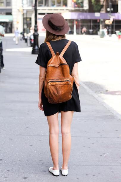 649ae898a7 bag backpack leather brown girl street dress black hat fashion grunge  little black dress brown backpack