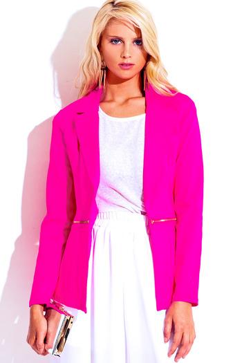 hot pink zipper trim blazer jacket - Back to the City