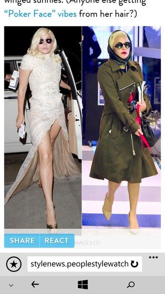 dress lady gaga ivory dress green jacket fashion