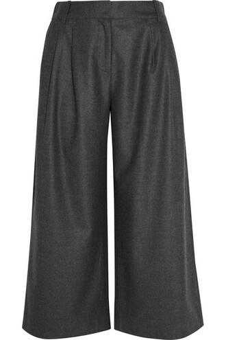 pants wide-leg pants cropped wool charcoal flannel