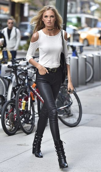 shirt leather pants leather shoes black leather urban streetstyle white shirt white cold shoulder