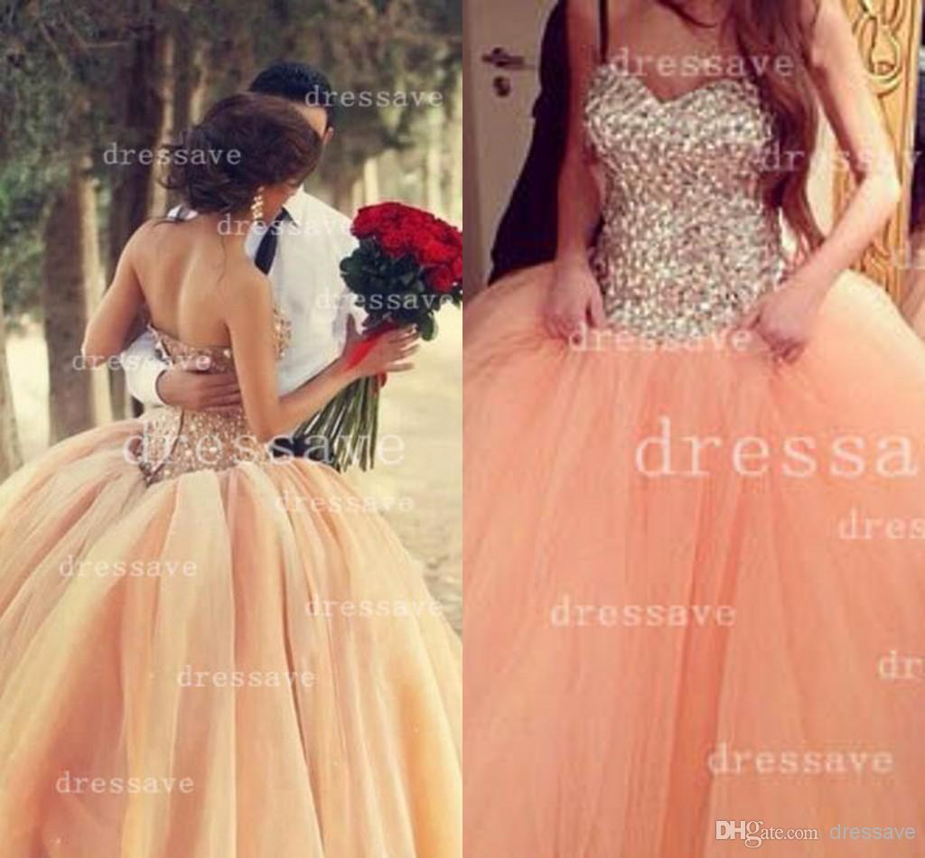 Cheap Prom Dress - Discount 2014 Sexy Ball Gown Wedding Dresses Sweetheart Rhinestones Online with $144.36/Piece | DHgate