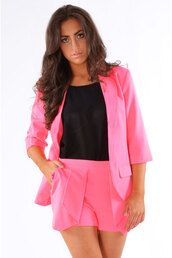 dress,ladies,delilah,two-piece,tight,blazer,pleated,wrap short,set neon pink