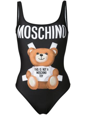 bear women spandex print black swimwear