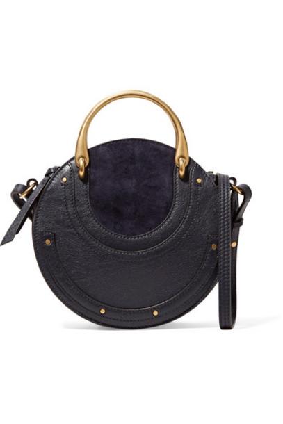 bag shoulder bag leather blue suede