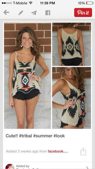 shorts fringe top aztec aztec top black shorts