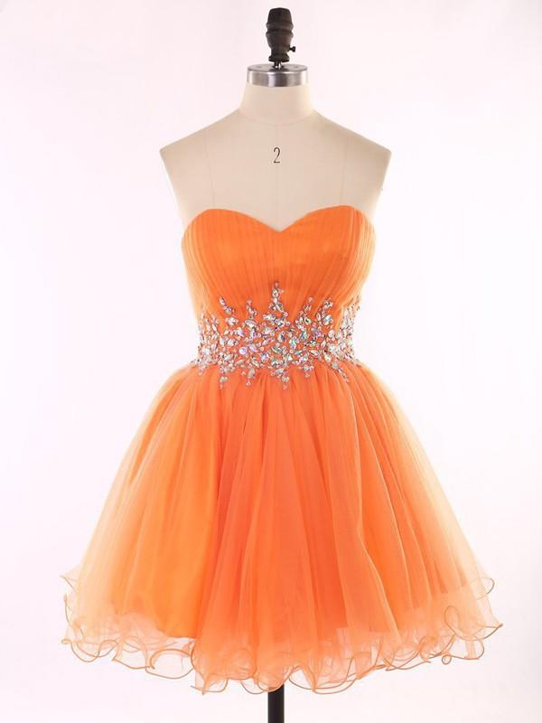 Dress prom prom dress organza orange mini mini dress for Oxiclean wedding dress