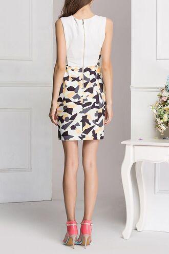 dress dezzal bodycon dress print white cute fashion trendy style casual