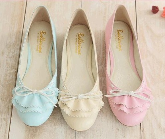 shoes pastel cute bows girly ballet flats ruffled ballerina