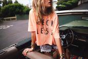 orange shirt,reckless,shorts,shirt,orange,jewelry,t-shirt