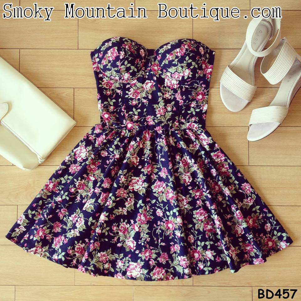 Joana vintage floral bustier dress with adjustable straps