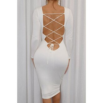 dress sexy white open back fashion style hot party bodycon elegant strappy criss cross long sleeves midi dress