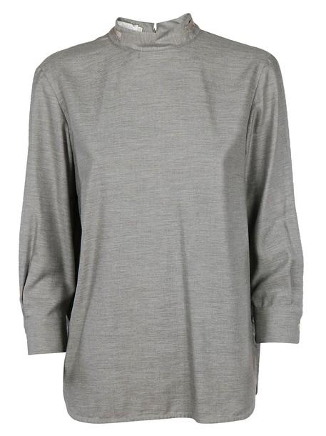 Barba blouse high grey top