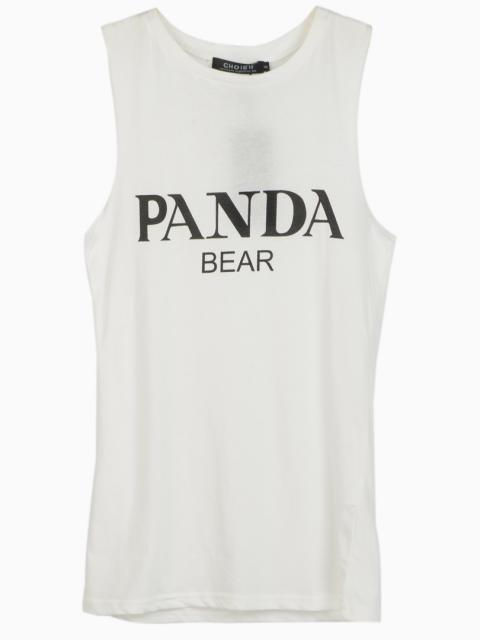 White Loose Vest With PANDA Print | Choies