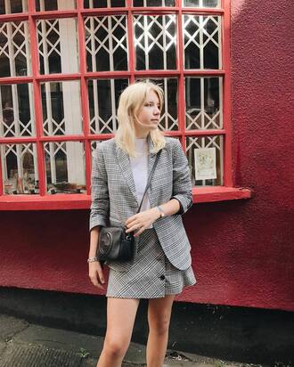 skirt mini mini skirt plaid plaid skirt plaid mini skirt blazer plaid blazer matching set wrap skirt bag crossbody bag fall outfits